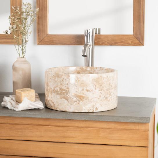 Vasque salle de bain ronde à poser en marbre Ulysse 30 cm crème