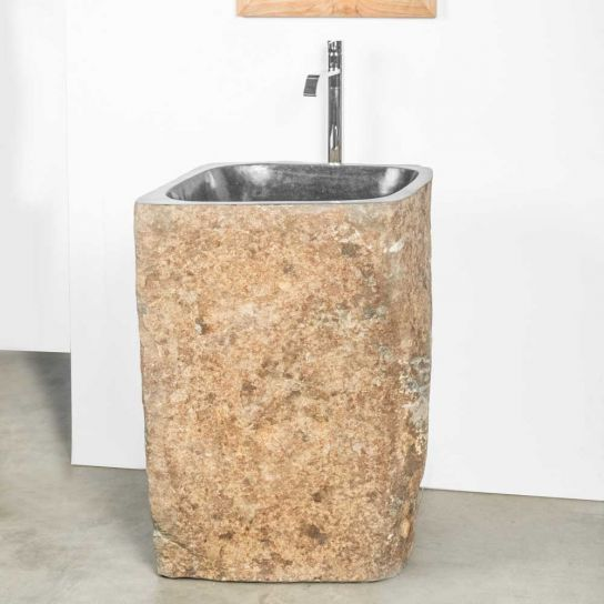 vasque sur pied en galet de rivière
