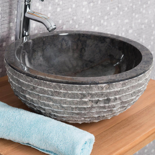 Vesuvius black round stone countertop sink