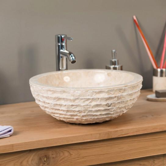 Vesuvius cream marble countertop sink 40 cm