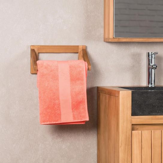 Teak wall-mounted towel holder