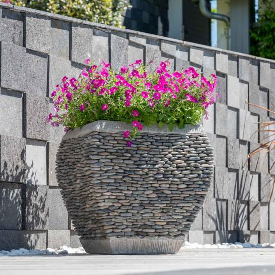 Zen curved pebble garden planter 50 cm tall