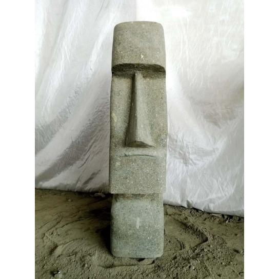Zen Moai elongated face volcanic rock garden statue 60 cm