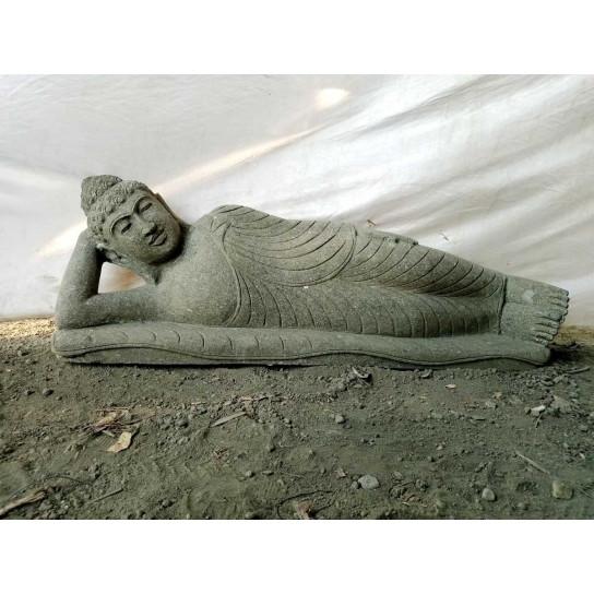 Zen reclining Buddha outdoor volcanic rock statue 1 m