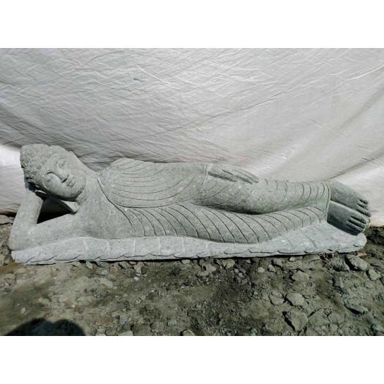 Zen reclining Buddha volcanic rock garden statue 120 cm