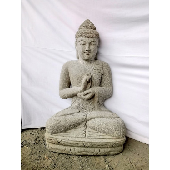 Zen volcanic rock Buddha statue chakra pose 1 m