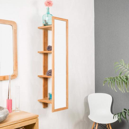 Zoe teak wall-mounted mirror storage unit