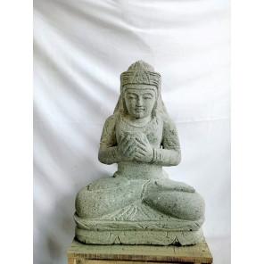 Balinese goddess Dewi lava stone statue flower 50 cm
