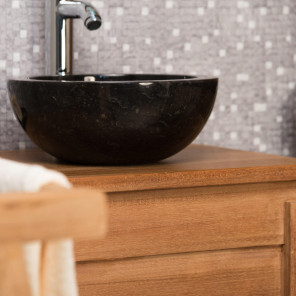 Barcelona round black marble countertop sink bathroom basin - Diameter 30 cm