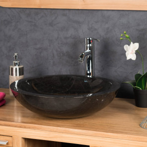 Barcelona round black marble countertop sink basin - Diameter 45 cm