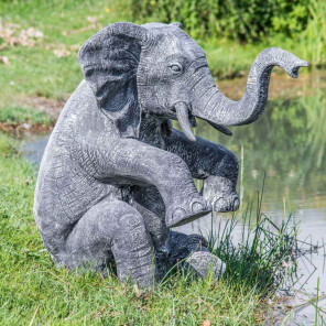 Black and grey weathered-finish seated elephant statue 95 cm