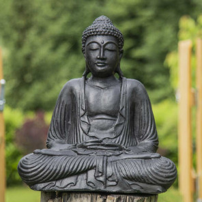 Black seated Buddha statue offering pose 42 cm