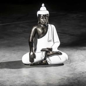 Bouddha assis méditation grand modèle Blanc 61 cm
