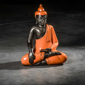 Bouddha assis meditation grand modèle Orange 61 cm