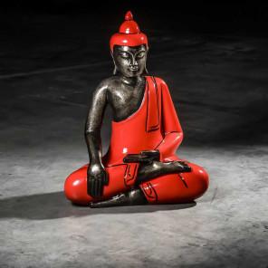 Bouddha assis méditation grand modèle rouge 61 cm