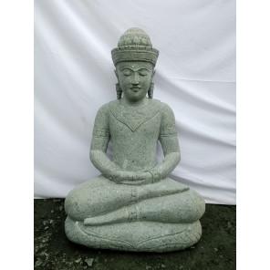 Bouddha en pierre volcanique position offrande 80cm