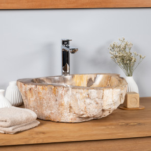 Petrified fossil wood countertop bathroom sink 60 cm