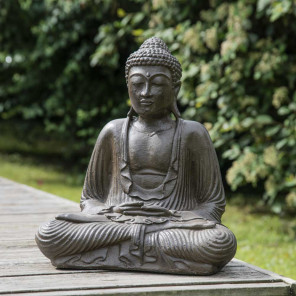 Brown seated Buddha statue offering pose 42 cm