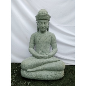 Buda de piedra volcánica en posición de ofrenda 80 cm