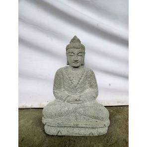 Buda de piedra volcánica en posición de ofrenda para jardín 50 cm
