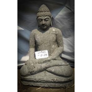 Buda sentado de piedra en posición lotus ofrenda  54cm jardín
