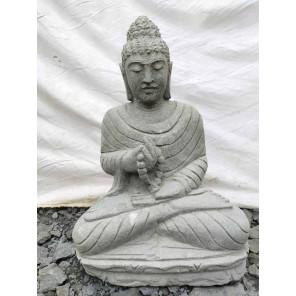 Buda sentado de piedra volcánica posición chakra con mala 50 cm