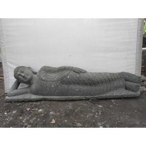Buda tumbado de piedra volcánica para jardín zen 2 m