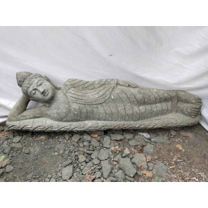 Buda tumbado estatua de piedra volcánica de jardín 150 cm