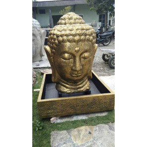 Buddha gold-coloured head garden water feature 130 cm
