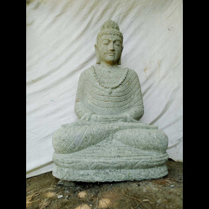 Buddha volcanic rock sculpture offering pose 1 m