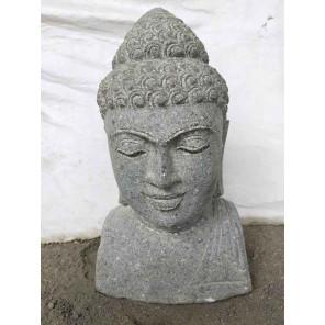 Buste de Bouddha en pierre volcanique deco zen 40 cm