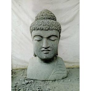 Busto de Buda de piedra para jardín zen 70 cm