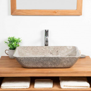 Carmen large grey marble countertop sink 60 cm