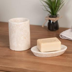 Conjunto vaso jabonera de mármol crema