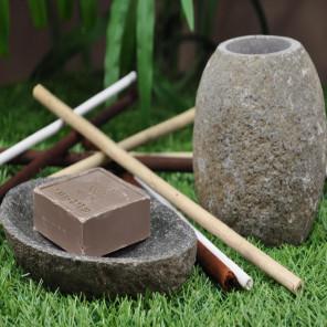 Conjunto vaso jabonera de piedra de río