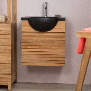 Contemporary teak wall-mounted bathroom vanity unit 50