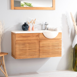 Contemporary teak wall-mounted bathroom vanity unit 100 with cream sink