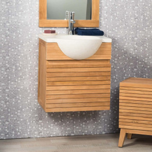 Contemporary teak wall-mounted bathroom vanity unit 50 with cream sink