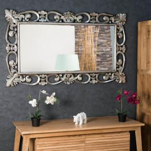 rectangular silver-coloured Baroque mirror