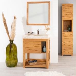 Cosy cream sink teak bathroom vanity unit.