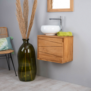 Cosy teak wall-mounted bathroom vanity unit 40