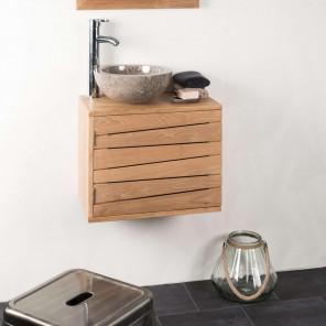 Cosy teak wall-mounted bathroom vanity unit 50 x 30 cm