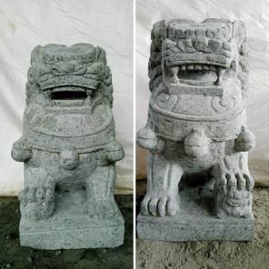 Couple chien Fu Foo statue en pierre volcanique 60 cm