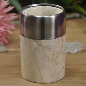 Cream marble and stainless steel toothbrush holder
