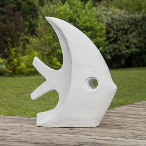 Déco jardin contemporaine poisson 78 cm blanc