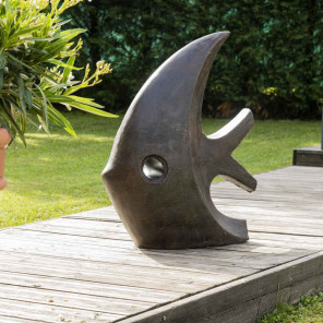 Decorative brown fish garden statue 78 cm