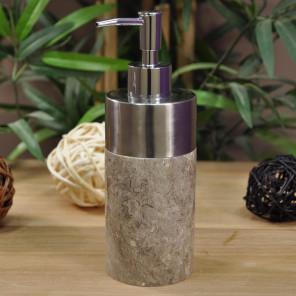 Dispensador de jabón de mármol y acero inoxidable gris