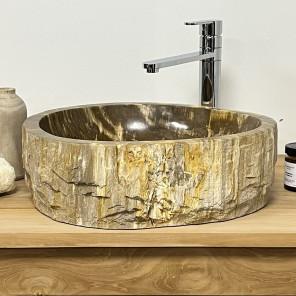 Double vasques de salle de bain en bois pétrifié fossilisé 42 CM