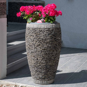 Egg-shaped natural slate garden planter 80 cm
