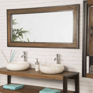 Elegance large teak and metal bathroom mirror 145 x 80